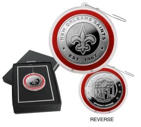 New Orlean Saints Silver Coin Ornament