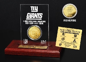 New York Giants 4-Time Champions 24KT Gold Etched Acrylic