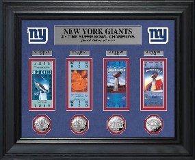 New York Giants Super Bowl Ticket and Game Coin Collection Framed