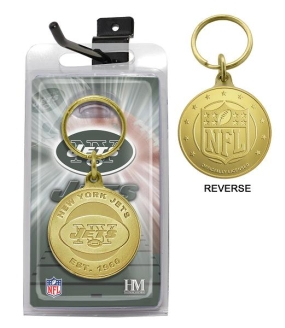 New York Jets Bronze Bullion Keychain