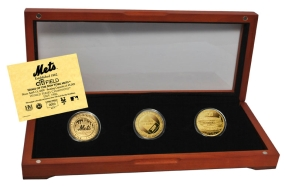 NEW YORK METS 24kt Gold 3 Coin Set