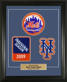 New York Mets Embroidered Inaugural Season 3 Patch Framed Set
