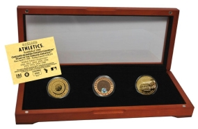 OAKLAND ATHLETICS 24kt Gold and Infield Dirt 3 Coin Set