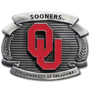 College Oversized Belt Buckle - Oklahoma Sooners