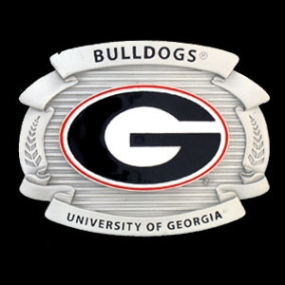 College Oversized Belt Buckle - Georgia Bulldogs