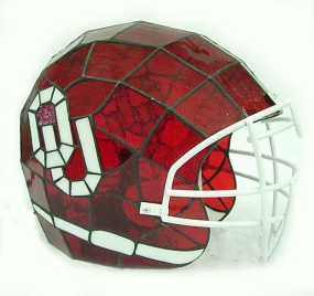 Oklahoma Sooners Glass Helmet Lamp