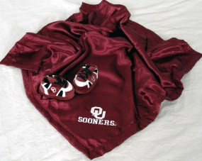 Oklahoma Sooners Baby Blanket and Slippers