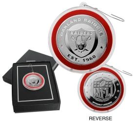 Oakland Raiders Silver Coin Ornament