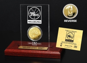 Philadelphia 76ers 24KT Gold Coin Etched Acrylic