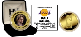 Pau Gasol 24KT Gold and Color Coin
