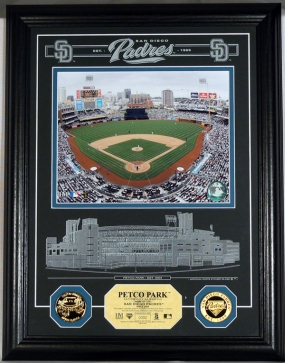 Petco Park Archival Etched Glass w/ two Gold Coins