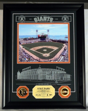 AT&T Park Archival Etched Glass w/ two Gold Coins