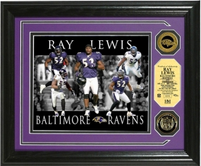 "Ray Lewis ""Dominance"" Photo Mint w/ 2 24KT Gold Coins"