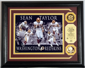 "Sean Taylor ""Dominance"" Photo Mint w/ 2 24KT Gold Coins"