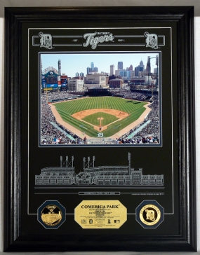 Comerica Park Archival Etched Glass w/ two Gold Coins