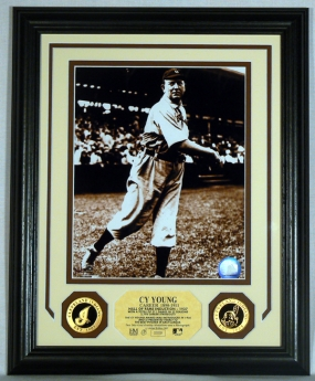 Cy Young Gold Coin Photo Mint w/two 24KT Gold Coins