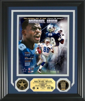 "Michael Irvin ""HOF"" Commemorative Photomint w/ 2 24KT Gold Coins"