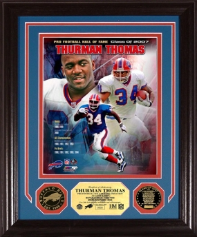 "Thurman Thomas ""HOF"" Commemorative Photomint w/ 2 24KT Gold Coins"