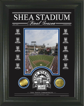 Shea Stadium Final Season Archival Etched Glass Gold Coin Photo Mint