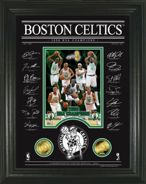 Boston Celtics 08 NBA Champions Archival Etched Glass w/ two 24KT Gold Coins