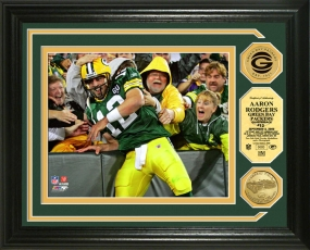 Aaron Rodgers Lambeau Leap 24KT Gold Coin Photo Mint