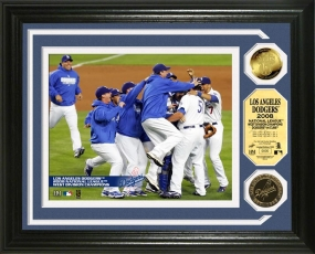 Los Angeles Dodgers NLDS Celebration 24KT Gold Coin Photo Mint