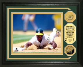 Ricky Henderson Hall of Fame Induction 24KT Gold Coin Photo Mint