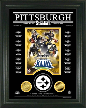 Pittsburgh Steelers Archival Etched Glass Super Bowl Champs 24KT Gold Photo Mint
