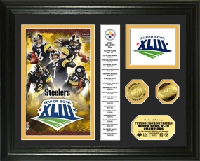 Pittsburgh Steelers Super Bowl XLIII Champions 24KT Gold Coin Photo Mint