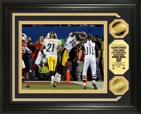 "Santonio Holmes Super Bowl XLIII ""MVP"" 24KT Gold Coin Photo Mint"