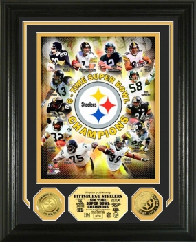 Pittsburgh Steelers  6 Time Super Bowl Champions 24KT Gold Photo Mint