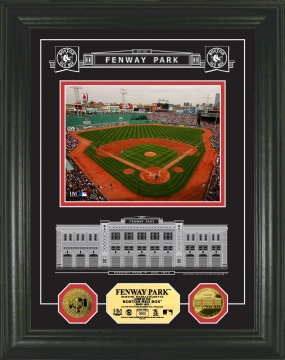 Fenway Park  Archival Etched Glass w24KT Gold Coin Photo Mint