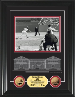 Bob Gibson HOF Archival Etched Glass 24KT Gold Coin Photo Mint