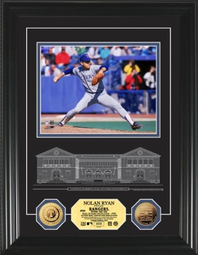 Nolan Ryan HOF Archival Etched Glass 24KT Gold Coin Photo  Mint