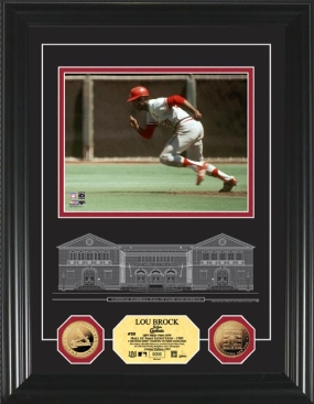 Lou Brock HOF Archival Etched Glass 24KT Gold Coin Photo Mint