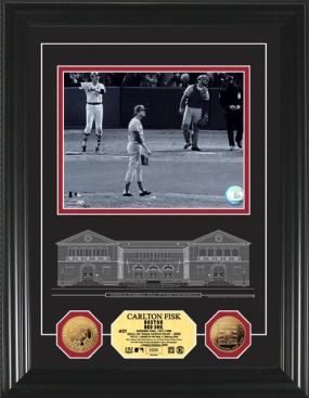 Carlton Fisk HOF Archival Etched Glass 24KT Gold Coin Photo Mint