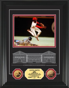 Ozzie Smith HOF Archival Etched Glass 24KT Gold Coin Photo Mint