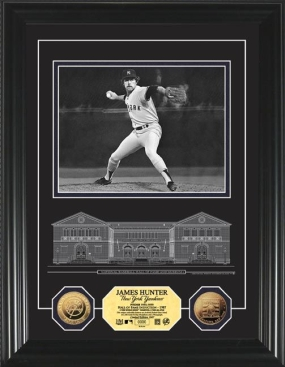 Catfish Hunter HOF Archival Etched Glass 24KT Gold Coin Photo Mint