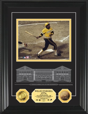 Willie Stargell HOF Archival Etched Glass 24KT Gold Coin Photo Mint