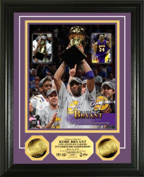 Kobe Bryant Trophy 24KT Gold Coin Photo Mint