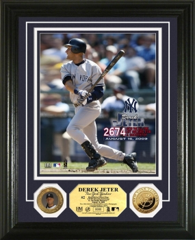 Derek Jeter All Time Hit Leader Short Stop 24KT Gold Coin Photo Mint