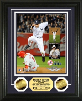 "Derek Jeter ""5x World Series Champ"" 24 KT Gold Coin Photo Mint"