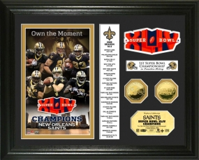 New Orleans Saints Super Bowl XLIV Champs 24KT Gold Coin Banner Photo Mint