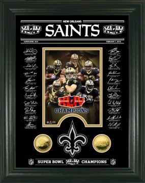 New Orleans Saints Super Bowl XLIV Champs Signature Etched Glass 24KT Gold Coin Photo Mint