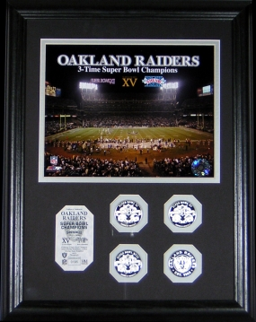 Oakland Raiders 3 Time Super Bowl Champs Photomint