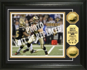 Saints Super Bowl XLIV 24KT Gold Coin MVP Photo Mint