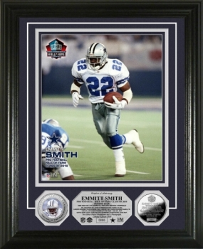 Emmitt Smith HOF Induction Silver Plate Photo Mint