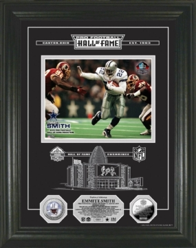 Emmitt Smith Silver Coin HOF Induction Etched Glass Photo Mint