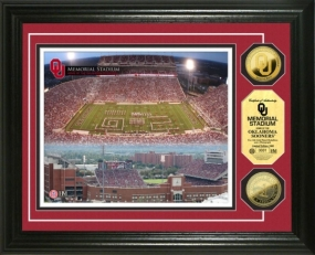 University of Oklahoma Memorial Stadium 24KT Gold Coin Photomint