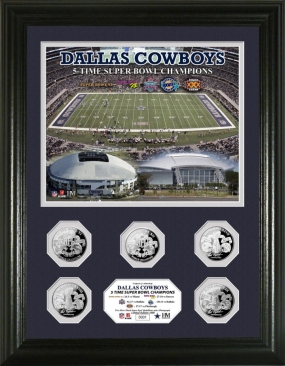 Dallas Cowboys 5 Time Super Bowl Champions Silver Coin Photomint